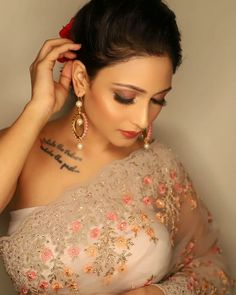 Indian Designer Wear, Beautiful Models, One Shoulder, Hoop Earrings, Formal Dresses, My Love, Hot, How To Wear, Jewelry