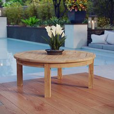 AmazonSmile: Modway Marina Teak Wood Outdoor Patio Round Coffee Table in Natural: Kitchen & Dining