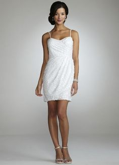 Amazon.com: David's Bridal Wedding Dress: Spaghetti Strap Sequin Short Dress Style 21722: Clothing