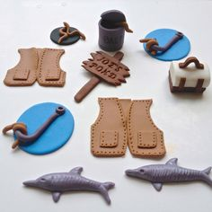 Fishing cupcake toppers handmade by by FancyTopCupcake on Etsy