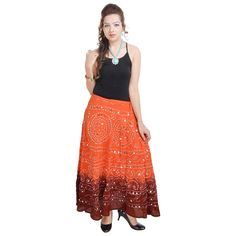 Bandhej Exclusive Ornage Cotton Skirt