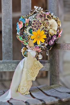 ask each bridal shower guest to arrive with a brooch of their choice, then have it made into a bouquet for your big day.  so special!