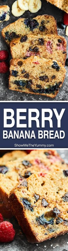 Full of fresh blueberries, raspberries, and dark chocolate chips, this Berry Banana Bread is loaded with goodness and is the perfect breakfast, snack, or dessert! http://showmetheyummy.com Recipe made in partnership w/ @DriscollsBerry #finestberries #bana