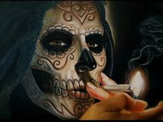 Day of the Dead girl, smoking
