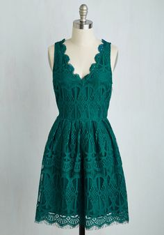 Biologists' Ball Dress by BB Dakota - Green, Solid, Scallops, Party, A-line, Lace, Better, Exclusives, Mid-length, Woven