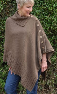 Knitting Pattern for Miriam Carole Poncho - This buttoned poncho with open collar is mostly stockinette stitch and is knit bottom-up in a single rectangular piece with no provisional cast-on, no cable needle, no rearranging stitches, no grafting and no sewing.