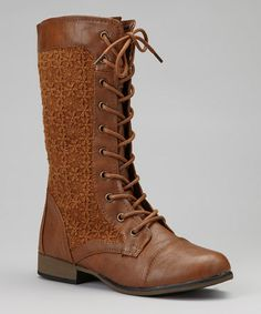 Take a look at this Tan Chapter Lace-Up Boot by Forever on #zulily today! $25 !!