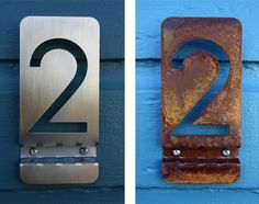 "Address numbers are available for purchase starting at $21ea. We offer several finish options - brushed stainless steel, mild steel (rusty), and powder coated steel (various colors). The dimensions for each number are 6.25""H x 3""W x .5""D.  Please inquire at info@objectcreative.com"