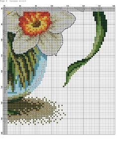 Celtic Cross Stitch, Counted Cross Stitch Patterns, Cross Stitch Charts, Cross Stitch Embroidery, Cross Stitch Fruit, Cross Stitch Flowers, Narcisse, Easter Cross, Daffodils