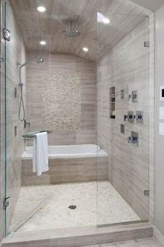 Contemporary Master Bathroom with specialty tile floors, Rain shower, High ceiling, Arizona tile, WATERFALL SERIES, Porcelain: