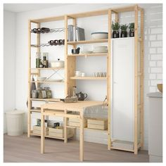 IKEA - IVAR 3 section unit with foldable table pine, white Shelving Unit, Storage Spaces, Furniture, Foldable Table, Home, Furnishings, Multifunctional Room, Home Furnishings, Ikea Ivar