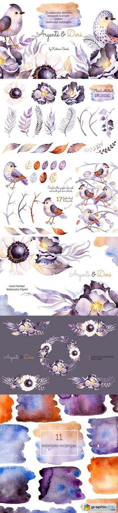 Argente and Dore. Watercolor Set  stock images