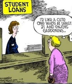 Old Lady Jokes | Funny Old Woman Student Loan Cartoon | Funny Joke Pictures