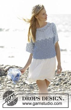 Jumper with seamless sleeves and lace pattern, worked top down in DROPS Belle. Sizes S - XXXL. Free pattern by DROPS Design.