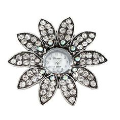 """Sunflower Shaped Rhinestone Watch Ring ; 2""""L; Burnished Silver Metal; Clear and AB Rhinestones; Stretches to Fit Most; Eileen's Collection. $28.99"""