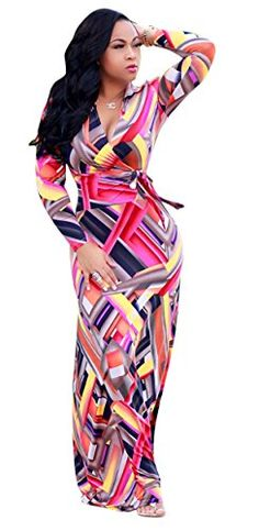 adf325ff387 Aecibzo Womens Sexy Ladies Deep V Neck Floral Party Evening Long Maxi Dress  (S