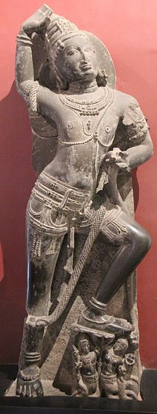Garuda idol - Idol carved out of Diabase. Idol was part of Gogga Narayana Temple, Dahod district in Gujarat and dates back to 11th century CE. Idol on display at Prince of Wales Museum, Mumbai