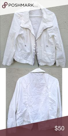 White thin Zip up Jacket ❤️White with silver detail ❤️XL ❤️Silky fabric by zipper ❤️Thin Polyester  ❤️Meant to have over sized look ❤️NOT FREE PEOPLE!-JUST FOR EXPOSURE Free People Tops Sweatshirts & Hoodies