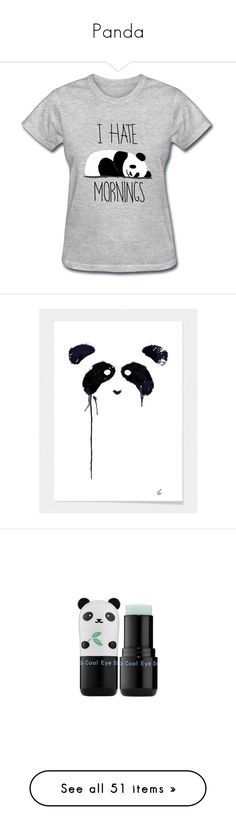 """""""Panda"""" by bevain-330 ❤ liked on Polyvore featuring tops, t-shirts, shirts, tees, light blue, women's clothing, panda t shirt, print tees, panda tee and sports tee"""