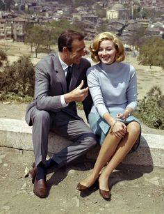 Sean Connery and Daniela Bianchi on the set of FROM RUSSIA WITH LOVE (1963)