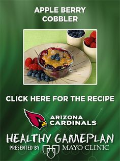 Apple Berry Cobbler. For more healthy recipes visit the Healthy Gameplan board at www.pinterest.com/azcardinals presented by Mayo Clinic. #Healthy #Cobbler #Dessert