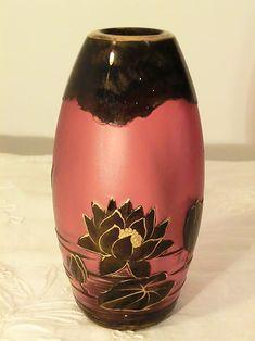 HARRACH CRANBERRY CAMEO GLASS VASE WITH LOTUS FLOWER DECOR. Circa 1899 www.madforglass.com Glass Collection, Lotus Flower, Flower Decorations, Glass Vase, Floral Decorations, Floral Headdress, Lotus Flowers