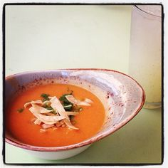 """Stopped for a late, light lunch of Tortilla Soup and Mint Lemonade at one of my all time fav SoCal spots. Tender Greens"""