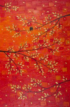 Original oil landscape painting Impasto Palette door QiQiGallery