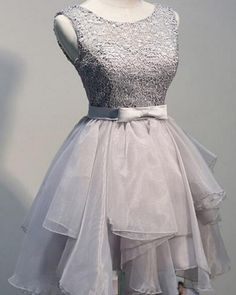 Grey organza unique sleeveless lace homecoming prom dresses,