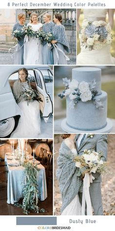 8 Perfect December Wedding Color Palettes Ideas Dusty Blue – color of life December Wedding Colors, Winter Wedding Colors, Winter Wedding Inspiration, Fall Wedding, Dream Wedding, Perfect Wedding, Trendy Wedding, 2017 Wedding, Wedding Blue