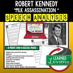 Robert F. Kennedy MLK Assassination Speech Analysis and Writing Activity, Digital and Print, Google Black History Month, Civil Rights Unit, and Speech Analysis, Social Studies Speeches, American History Speeches, English Speech Analysis