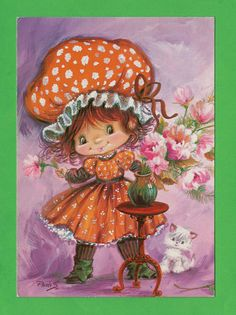 Vintage postcard 70s. Cute girl with a red by bluumievintage