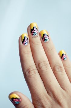 Tribal Patterned Nails via Pshiit