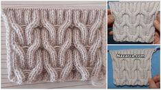 iki-burgular-orgu-modeli Knitting Stitches, Knitting Patterns, Crochet Patterns, Hat Patterns, Diy Fashion, Cable Knit, Shawl, Weaving Techniques, Tejidos