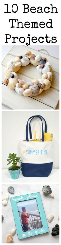 Here are 10 beach themed summer projects you can create to remind you of having sand between your toes! Home decor, jewelry, and more! Edible Crafts, Clay Crafts, Applique Pillows, Activities For Adults, Homemade Beauty Products, Cool Diy Projects, Beach Themes, Creative Crafts, Coastal Decor
