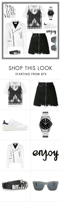 """""""Blak and white!"""" by montenegrinaa ❤ liked on Polyvore featuring McQ by Alexander McQueen, County Of Milan, adidas Originals, TAG Heuer, Yves Saint Laurent and Dsquared2"""