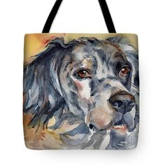 English Setter Portrait Tote Bag by Maria's Watercolor