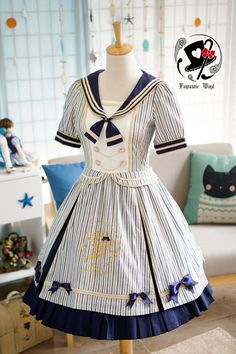 --> #LolitaUpdate: Rabbit Teeth [-☁☸♆-The Sailor's Wind-☁☸♆-] Series --> Size XXL available for plus-sized Lolis ^^ --> Learn More: http://www.my-lolita-dress.com/rabbit-teeth-the-sailor-s-wind-cotton-short-sleeves-op-dress
