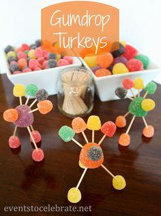 Thanksgiving Crafts - Gumdrop Turkeys - eventstocelebrate.net #thanksgiving #kids #crafts