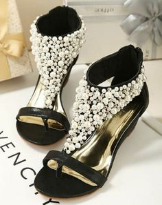 6691c6f53 Sweet Wedge Sandals With Faux Pearls and Zipper Design T Strap Sandals