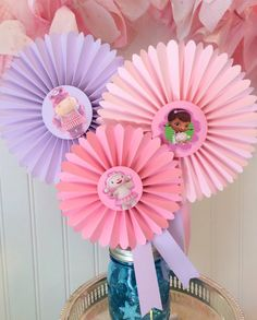 Doc McStuffins Party Centerpiece, Decorated Paper Rosettes for Dessert Table or Candy Buffet at Doc McStuffins Birthday, Purple and Pink by QuiltedCupcake on Etsy https://www.etsy.com/listing/196827844/doc-mcstuffins-party-centerpiece