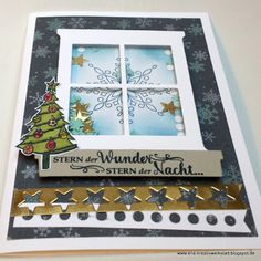 """#Weihnachtskarte """"Trautes Heim"""" mit #Schüttelfenster und Sternen   https://eris-kreativwerkstatt.blogspot.de/2017/12/weihnachtskarte-trautes-heim-mit.html  #stampinup #teamstampingart #teameriskreativwerkstatt #weihnachten #karte"""