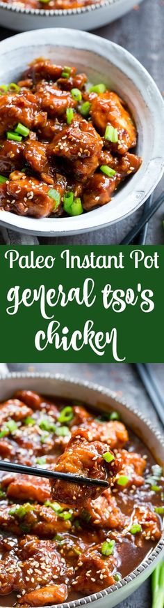 This paleo General Tso's Chicken is made in the Instant Pot in under 30 minutes! Way better than takeout and just as fast, too, it's gluten-free, grain free, and free of refined sugar and soy. Spicy and sweet, it's great served over cauliflower rice or with your favorite stir fried veggies!