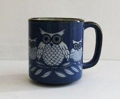 Vintage Owl Mug Pottery Coffee Mug Cup Blue Tree Brown Bird