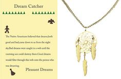 NEW DREAM CATCHER NECKLACE Yellow Gold with story card GREAT GIFT QUALITY JEWELRY!!!