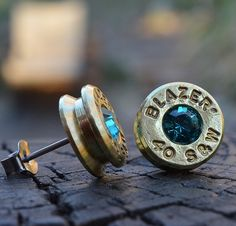 Bullet Earrings stud or post brass/gold Blazer .40 S&W with