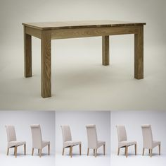 Hereford Oak Extending Dining Table 132-203 cm & 6 or 8 Tivoli Oak Fabric Rollback Chairs (Table & 8 Purple Chairs)