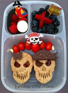 #Girl & #Boy #Pirate plant based vegan #Bento #lunchbox in @Kelly Lester / EasyLunchboxes