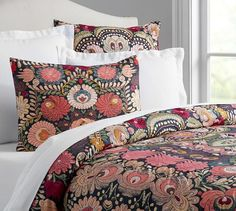 Helena Embroidered & Printed Duvet Cover & Sham | Pottery Barn