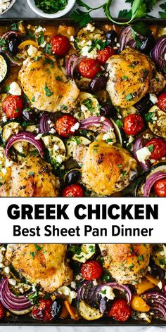 Dinner Entrees, Easy Dinner Meals, Healthy Dinner Recipes, Whole Food Recipes, Chicken Sheet Pan Dinners, Meals With Chicken Thighs, Healthy Meals With Chicken, Greek Chicken Thigh Recipe, Greek Roasted Chicken